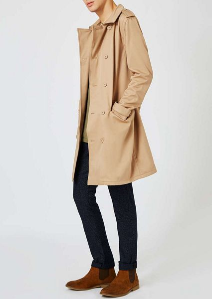 Topman Stone Fleece Lined Mac