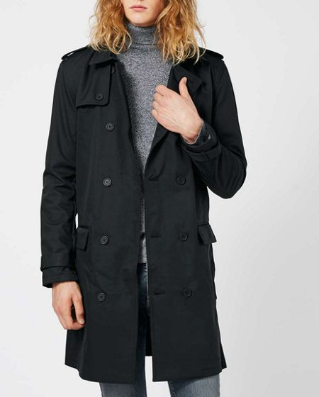 Topman Black Fleece Lined Double Breasted Mac