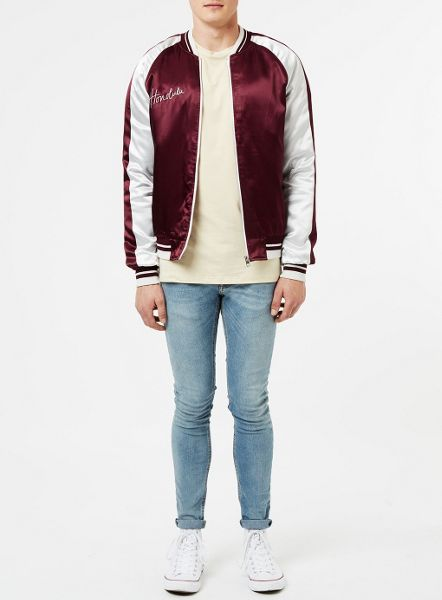 Topman Burgundy and Silver Souvenir Jacket