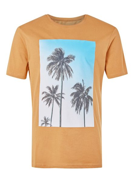 Topman Tan Palms print T-Shirt