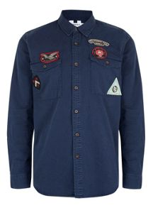 Topman Long Sleeve Badged Twill Shirt