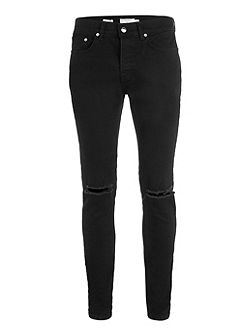 Double knee rip stretch skinny jean