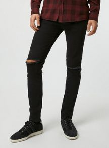 Topman Double knee rip stretch skinny jean
