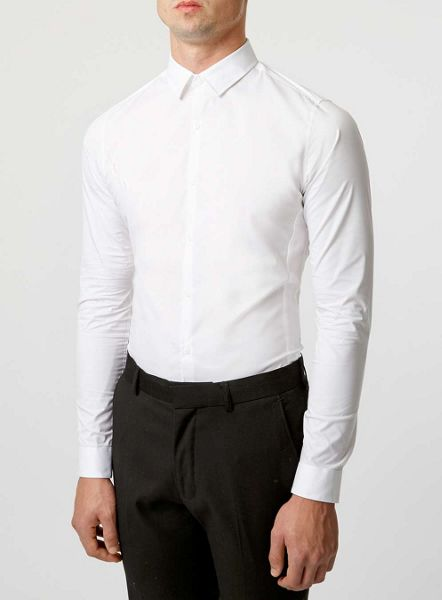 Topman Long Sleeve Stretch Shirt