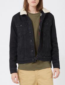 Topman Faux Shearling Collar Denim Jacket