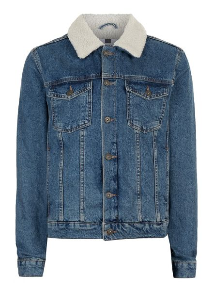Topman Blue Faux Shearling Collar Denim Jacket