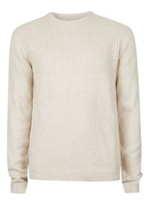 Topman Textured Yoke Crew Neck Jumper