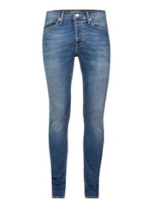 Topman Vintage Bleached Stretch Skinny Jeans