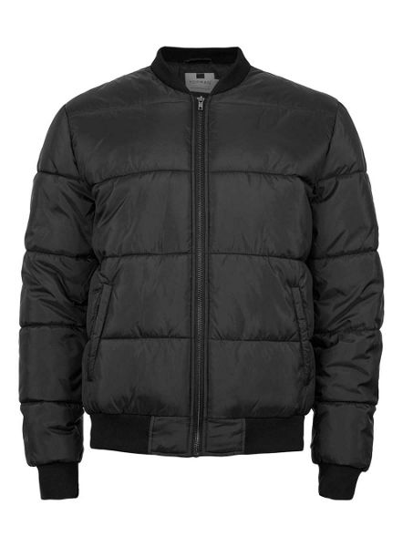 Topman Black Quilted Bomber Jacket