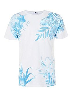 White blue floral print T-Shirt