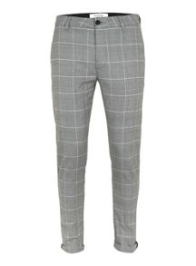 Topman Grey Check Stretch Skinny Chinos