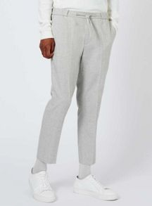 Topman Light Grey Wool Blend Smart Joggers