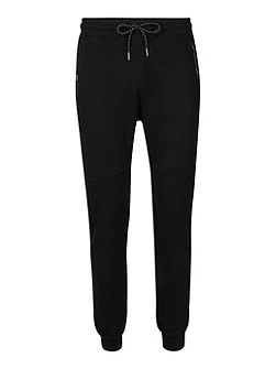Black Pique Weave Skinny Joggers