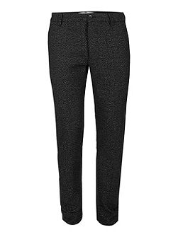 Black Wild Wool Texture Skinny Trousers