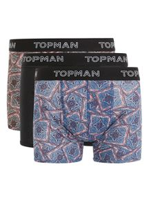 Topman Assorted Colour Paislye 3 Pack Trunks
