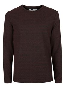 Topman Burgundy textured long sleeve t-shirt