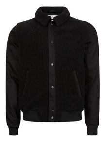 Topman Black Faux Shearling Harrington Jacket