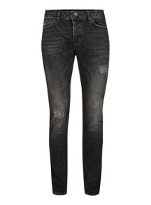 Topman Washed Black Ripped Stretch Skinny