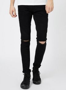 Topman Ripped Knee Stretch Skinny Fit Jeans