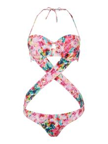 Lipsy Floral Cross Over Mono Swimsuit