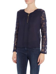 Long Sleeve Zip Front Lace Top
