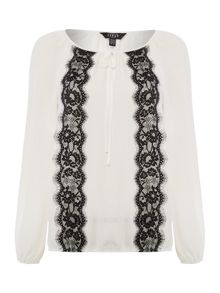 Lipsy Long Sleeve Lace Trim Top