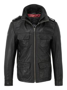 Brad Hero Casual Full Zip Leather Jacket