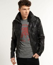 Superdry Brad Hero Casual Full Zip Leather Jacket