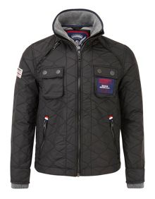Nylon Casual Full Zip Quilted Jacket