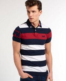 Superdry Hoopstripe Plain Crew Neck Regular Fit Polo Shirt