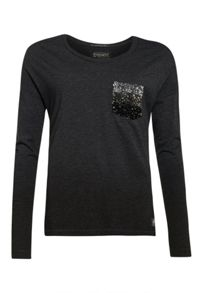 Superdry Ombre Sequin Pocket Long Sleeve Top