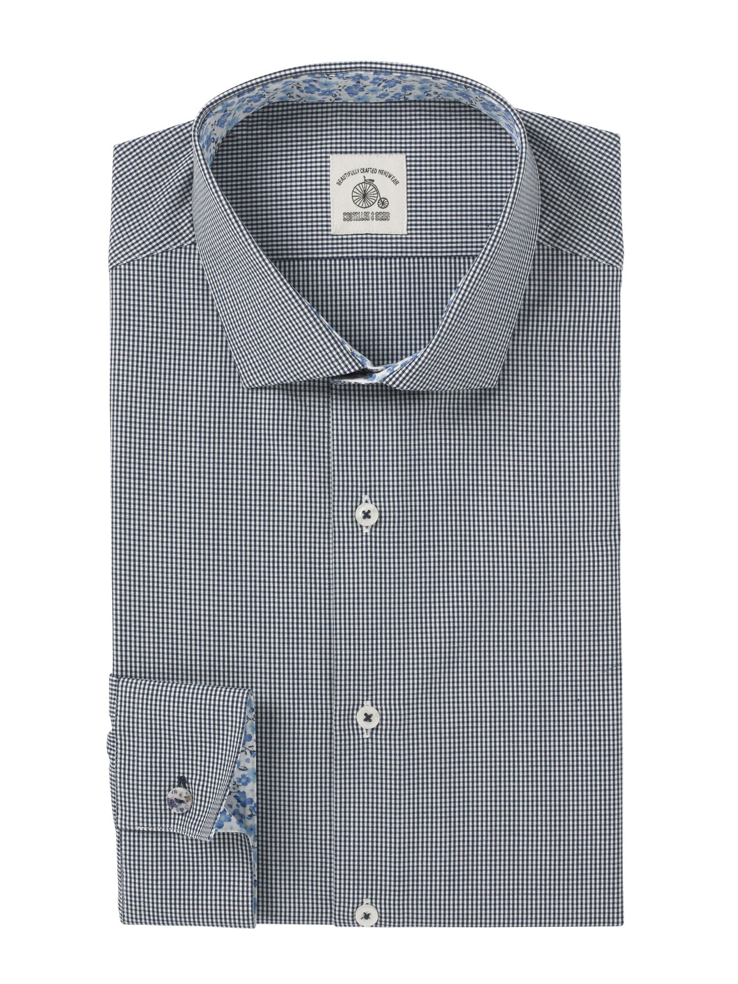Small gingham check long sleeve shirt