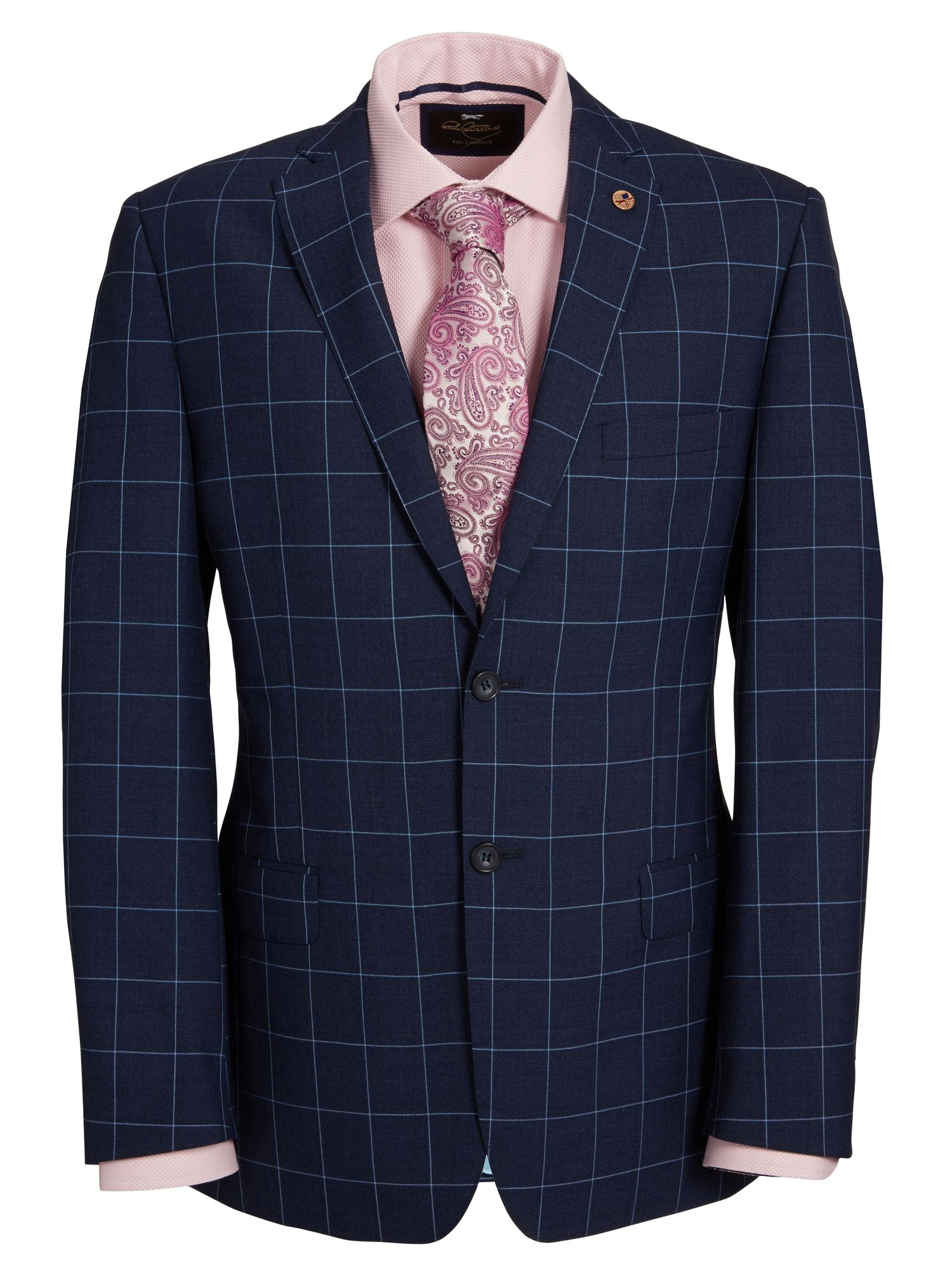 Window check single breasted suit jacket