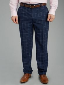 Paul Costelloe Blue Window Pane Check Suit Trousers