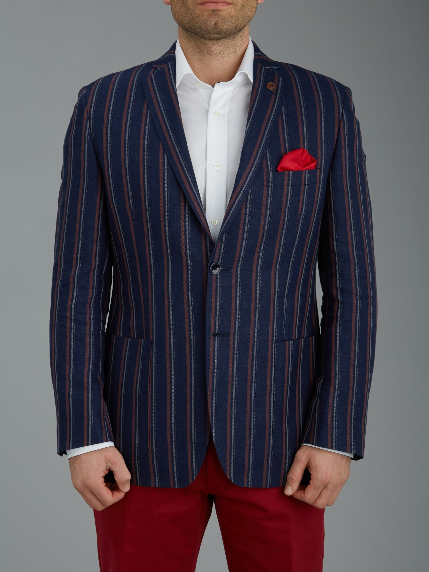Boating stripe single breasted jacket