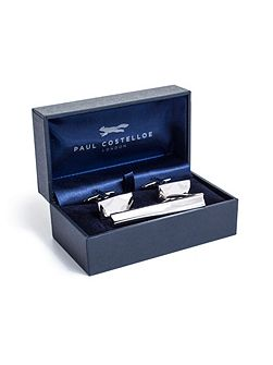 Plain Cufflinks And Tie Set