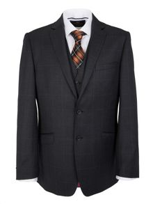 Fine windowpane lightweight flannel suit