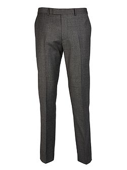 Grey Micro Tooth Slim Fit Suit Trousers