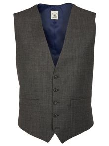 Micro tooth slim fit suit waistcoat