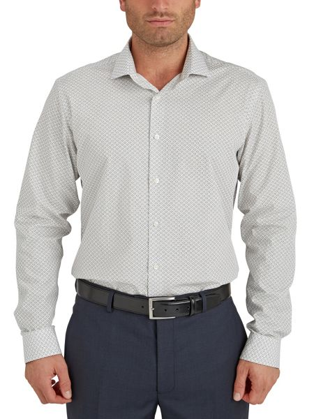Paul Costelloe Pattern Slim Fit Long Sleeve Cutaway Collar Shirt