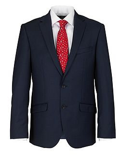 Slim Fit Navy Semi Plain Suit Jacket