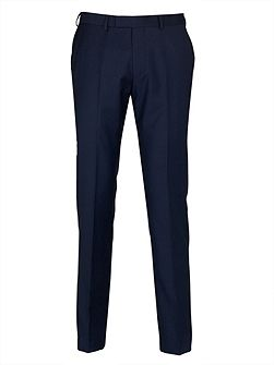 Navy Semi-Plain Slim Fit Suit Trousers