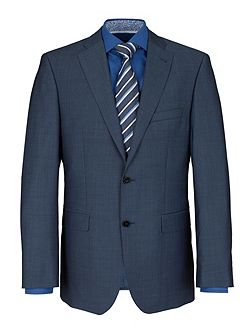 Blue Semi-Plain Slim Fit Two Piece Suit