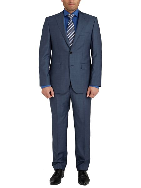 Baumler Blue Semi-Plain Slim Fit Two Piece Suit