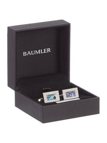 Baumler Metal Enamel Rodium Plated Cufflinks