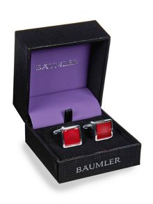 Metal Enamel Rodium Plated Cufflinks