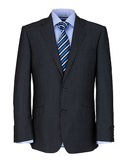 Modern Fit Blue Semi Plain Suit Jacket