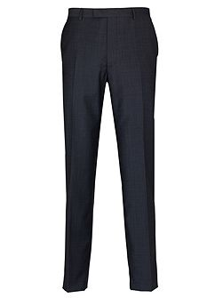 Blue Textured Semi Plain Suit Trousers