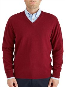 Paul Costelloe Wine V-Neck Knitwear