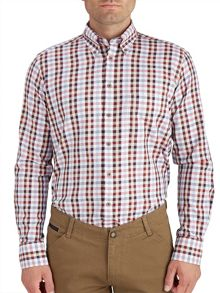 Paul Costelloe Button Down Wine/Red Oxford Check Shirt